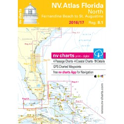 Carte NV Charts Côte Est Etats-Unis Reg. 8.1 Florida, North, Fernandia Beach to St. Augustine + Guide du Port