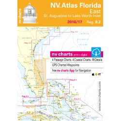 Carte NV Charts Côte Est Etats-Unis Reg. 8.2 Florida, East, St. Augustine to Lake Worth Inlet + Guide du Port