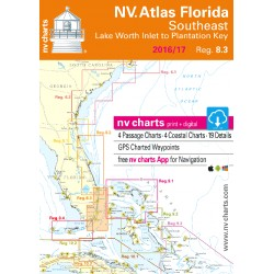 Carte NV Charts Côte Est Etats-Unis Reg. 8.3 Florida, Southeast, Lake Worth to Plantation Key + Guide du Port