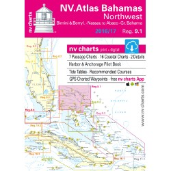 Carte NV Charts Bahamas Reg. 9.1 Bahamas North West, Bimini & Berry Islands, Nassau to Abaco, Grand Bahama + Guide du port