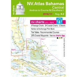 Carte NV Charts Bahamas Reg. 9.2 Bahamas Central, Andros to Exumas & Eleuthera Islands + Guide du Port