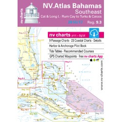 Carte NV Charts Bahamas Reg. 9.3 Bahamas South East, Cat & Long Islands, Rum Cay to Turks and Caicos + Guide du Port
